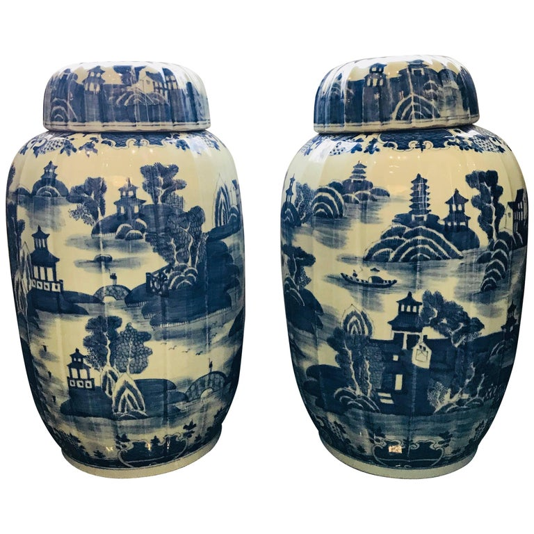 Pair of Large Covered Jars For Sale