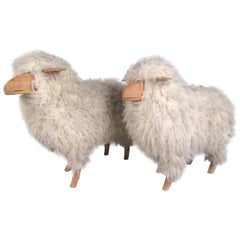 Pair of Vintage Lalanne Style Sheep with Real Wool