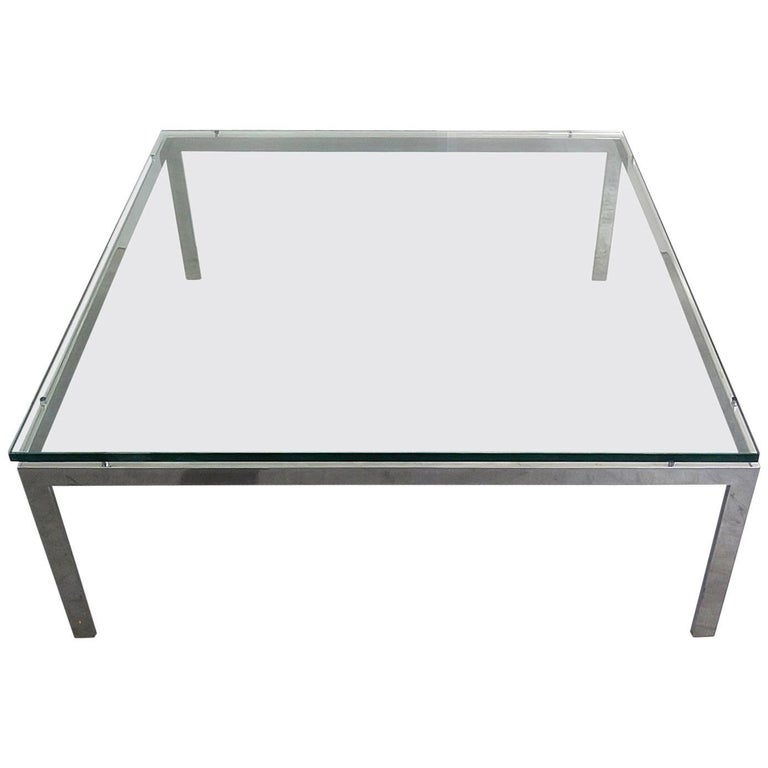 Glass Top Coffee Table Attributed Knoll
