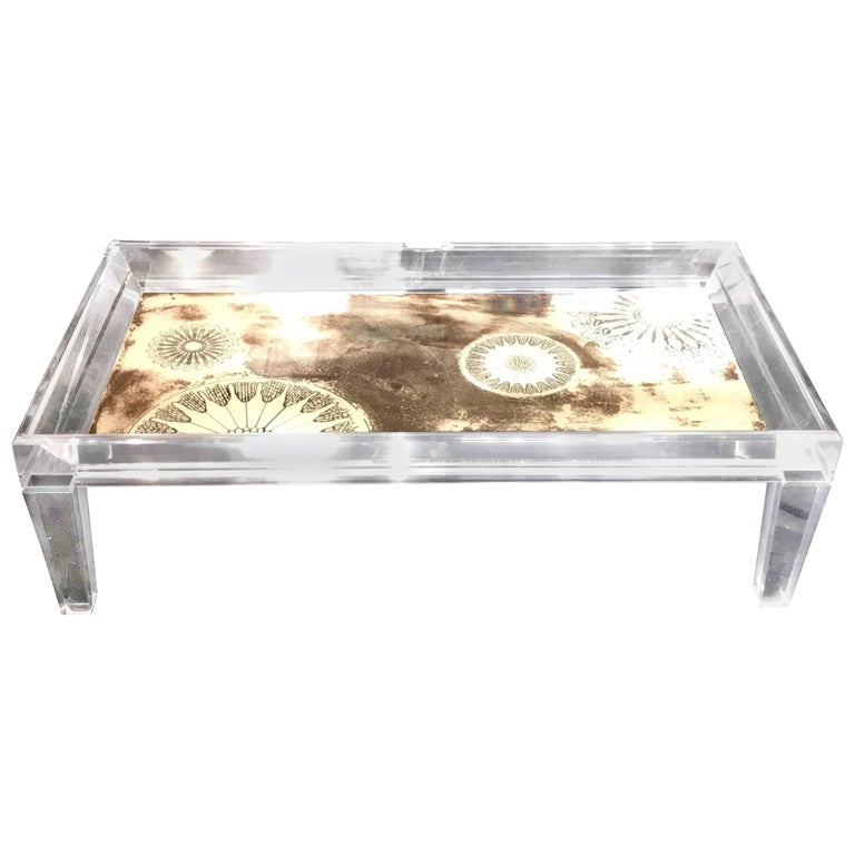Wonderful Mid Century Modern Reverse Painted Gl Large Lucite Coffee Table