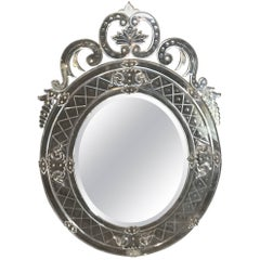 Wonderful Vintage Oval Italian Venetian Etched Mirror Elaborate Crown & Elements