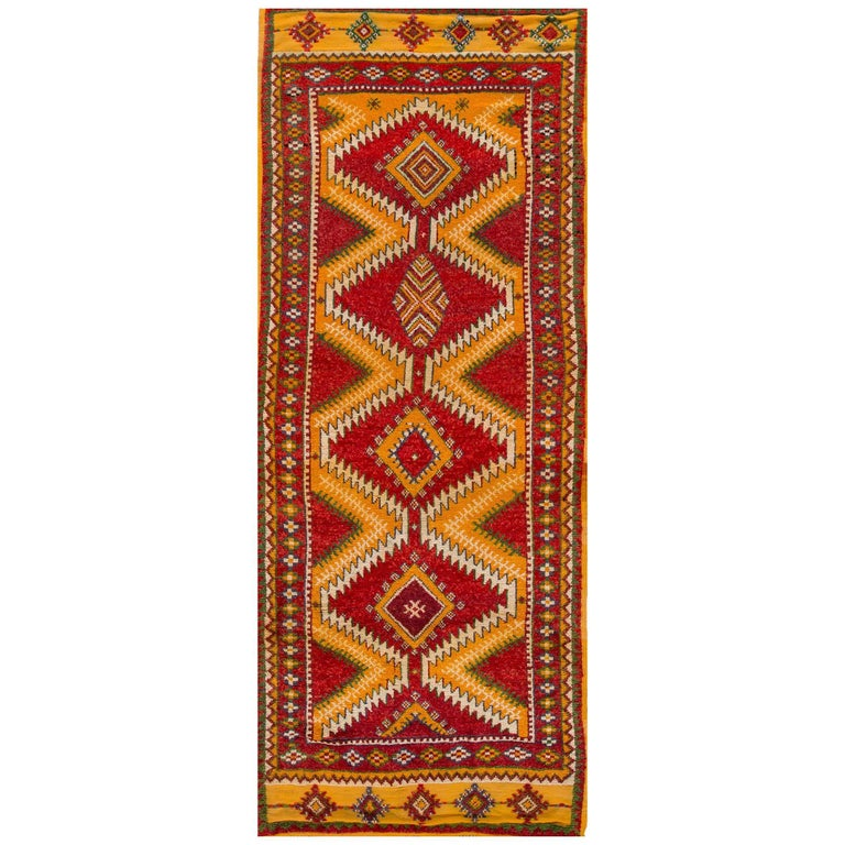 Vintage 1930s Red/Orange Moroccan Carpet Runner