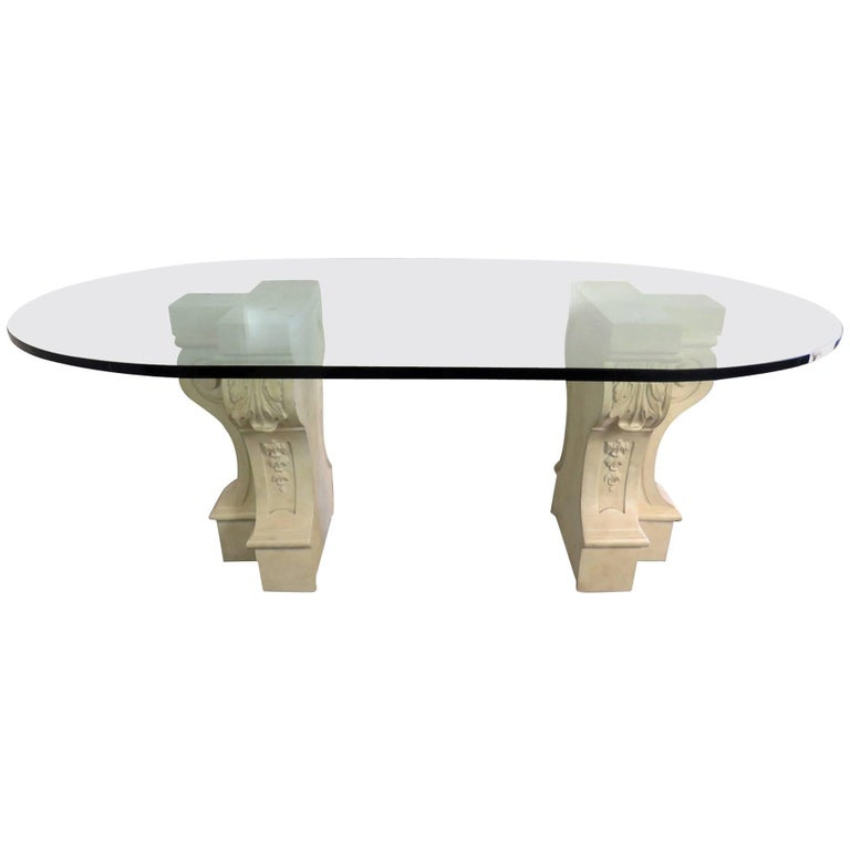 hollywood regency glass top dining table for sale at 1stdibs. Black Bedroom Furniture Sets. Home Design Ideas