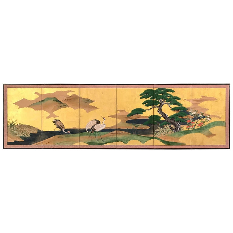 Gold Leaf Japanese Screen For Sale