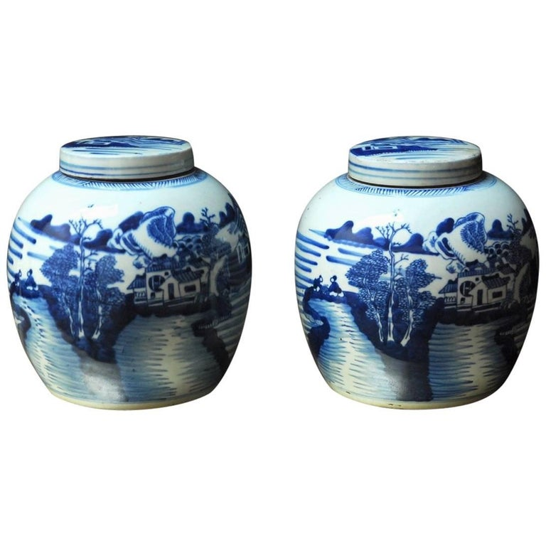 Pair of Chinese Blue and White Porcelain Round Ginger Jars