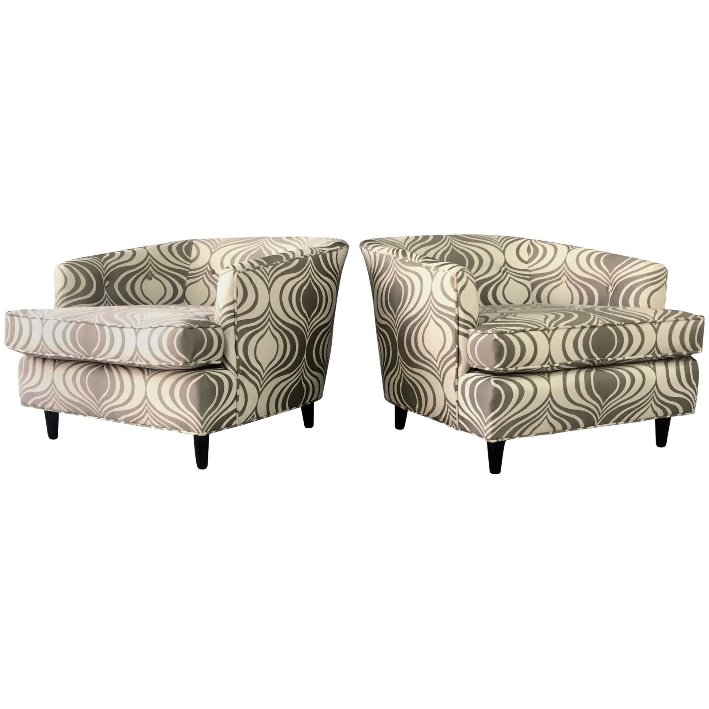 Milo Baughman Style Pair of Barrel Back Lounge Chairs Midcentury