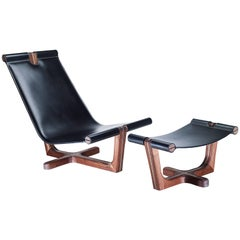 Armada Armchair, Relaxing High Back Armchair in Walnut and High Quality Leather