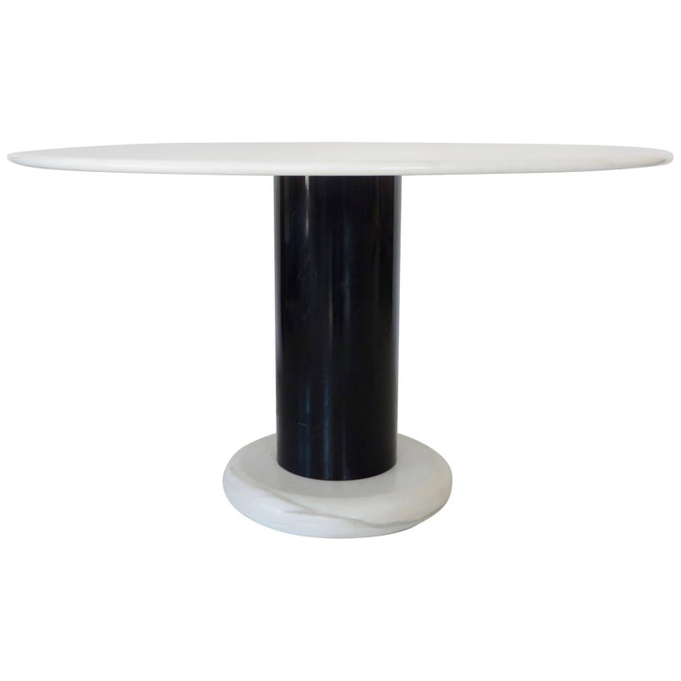 Ettore Sottsass White and Black Round Marble Dining Table Lotorosso Polotronova
