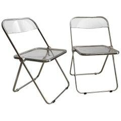 "1960s Italian Piretti ""Plia"" Castelli Folding Lucite Chairs, Pair"