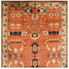 Large 21st Century Orange/Blue Persian-Style Carpet