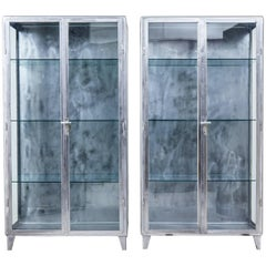 Pair of 1920s Art Deco Polished Steel Medical Display Cabinets