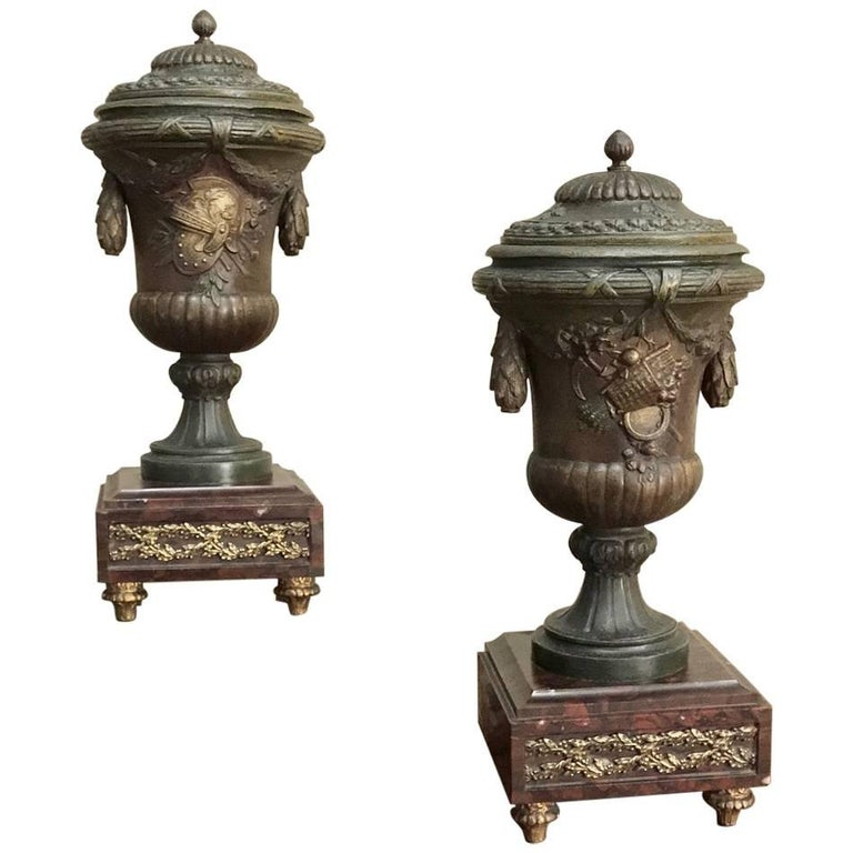 Pair of 19th Century French Mantel Urns, circa 1890