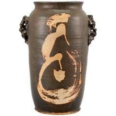 """Japanese Large Exceptional Handmade Studio """"Birds"""" Vase, Shoji Hamada Style"""