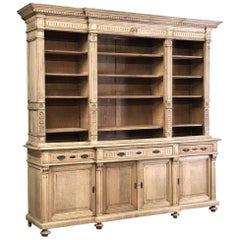 19th Century Stripped Oak Neoclassical Bookcase