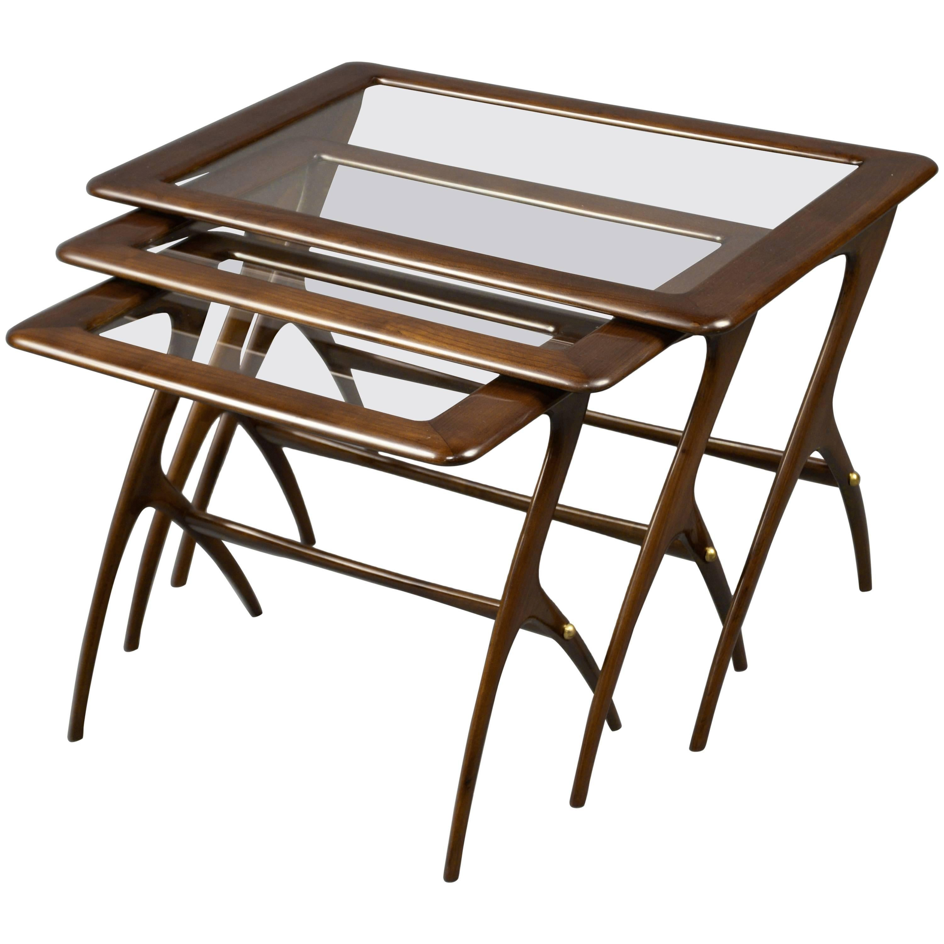 Nest of Three Tables Attributed to Ice Parisi, Italy, 1950s