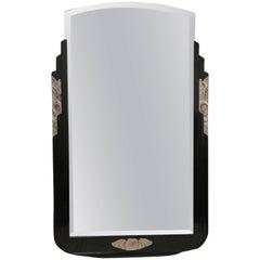 Art Deco Ebonized and Silver Leaf Mirror