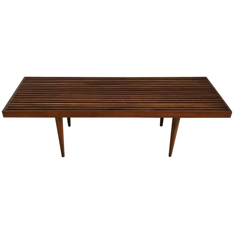 Midcentury Walnut Mel Smilow Slat Bench Or Coffee Table At 1stdibs