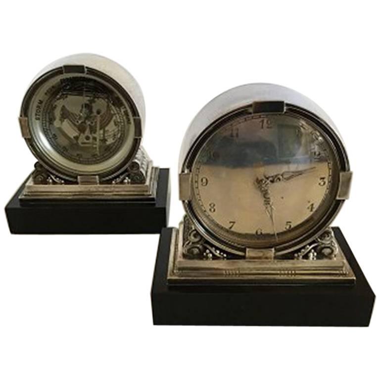 georg jensen acorn sterling silver clock and barometer. Black Bedroom Furniture Sets. Home Design Ideas