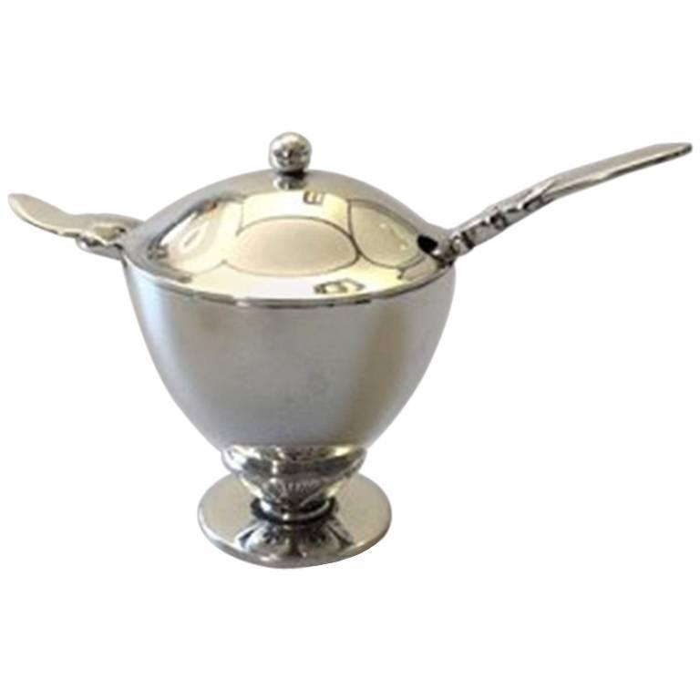 georg jensen cactus sterling silver mustard pot 629 for. Black Bedroom Furniture Sets. Home Design Ideas