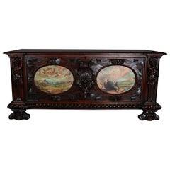 Oversized Antique Walnut Figural Renaissance Revival Hand-Painted Cassone
