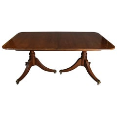 Vintage Mahogany Duncan Phyfe Style Baker Double Pedestal Table, 20th Century