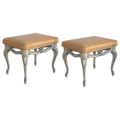 Gracefully-Shaped Pair of French Rococo Style Gray Painted Stools