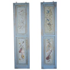 French Hand-Painted Panels with Birds and Musical Instruments
