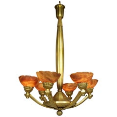 Rare French Art-Deco Gilt Bronze and Amber Alabaster Six-Light Chandelier