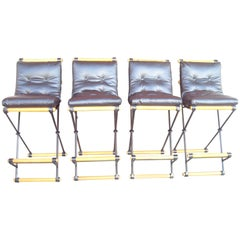 Cleo Baldon Set of Four Bar Stools, in Iron for Terra Furniture, Indoor/Outdoor