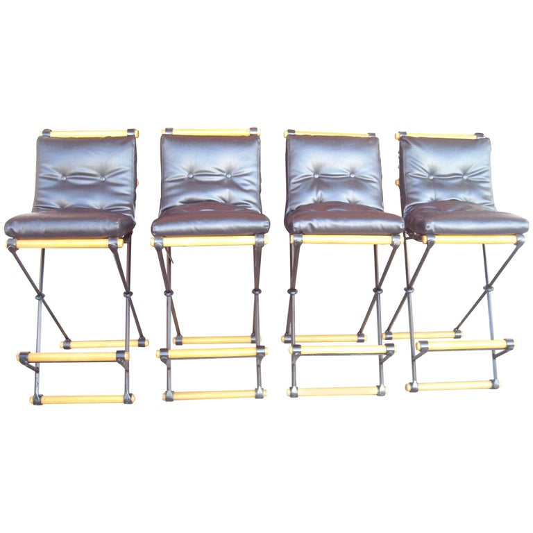 Cleo Baldon Set of Four Bar Stools, in Iron for Terra Furniture, Indoor/Outdoor For Sale