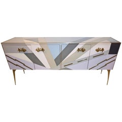 Contemporary Italian Pop Design Purple Blue Gray White Glass Sideboard / Cabinet