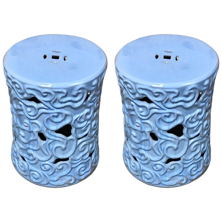 Pair of Chinese Export Steel Gray Turquoise Garden Seats, for Gumps