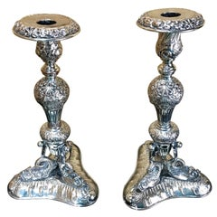 Pair of Sheffield Plate Dolphin Motif Candlesticks
