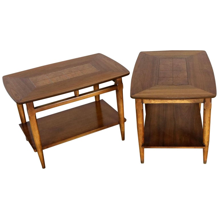 Lane Walnut End or Side Tables with Inlaid Tops Mid-Century Modern Pair #1925