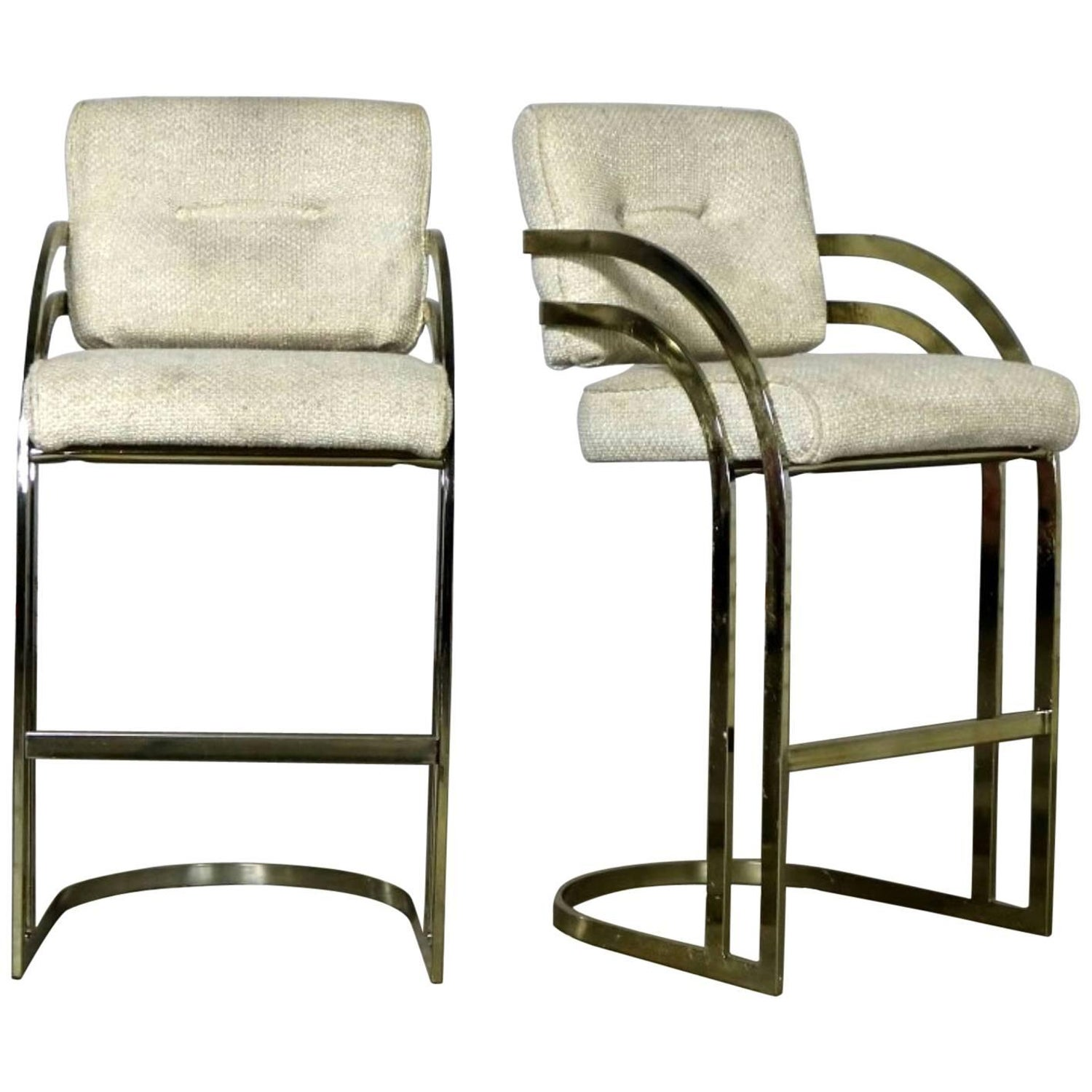Fine Pair Of Milo Baughman Style Cantilever Brass Plated Bar Gmtry Best Dining Table And Chair Ideas Images Gmtryco