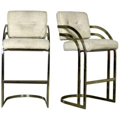 Pair of Milo Baughman Style Cantilever Brass Plated Bar Stools MCM