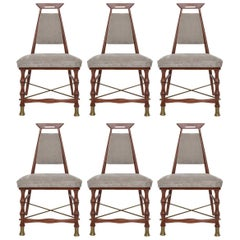 Set of Six Dining Chairs after Frank Kyle, Mexican Mid-Century Modern