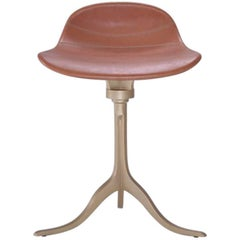 Bespoke Sand Cast Brass Swivel Stool in Châtaigne Leather