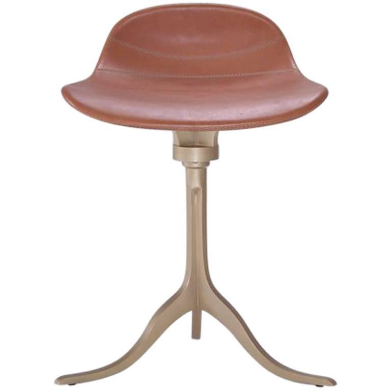 Bespoke Sand Cast Brass Swivel Stool in Châtaigne Leather For Sale