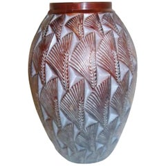 Rene Lalique Amber Vase Grignon