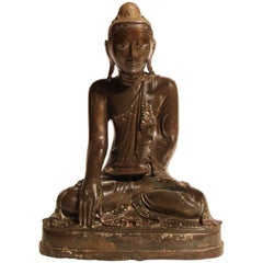 19th Century Thai Inlaid Bronze Buddha