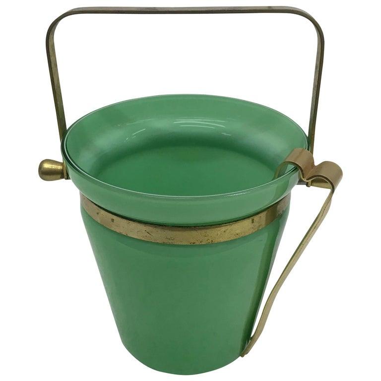 Italian Mid-Century Modern Opaline Ice Bucket For Sale