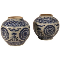 Pair of 19th Century Chinese Porcelain Jars in the Kangxi Style