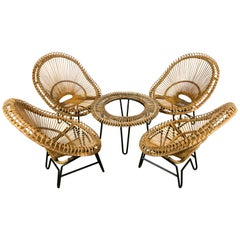 Rattan Set of Scoop Chairs and Table in the Style of Janine Abraham