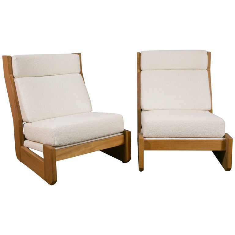 Pair of Large Slipper Chairs in the Manner of Pierre Chapo