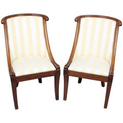 Pair of Early 19th Century French Mahogany Small Bergère