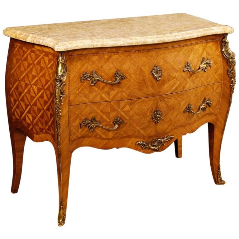 French Inlaid Dresser in Rosewood with Marble Top Louis XV Style, 20th Century