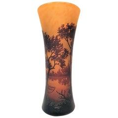 Daum Freres Art Nouveau Forest Vase in Cameo Glass