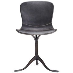 Black Leather and Brown Sand Cast Brass Chair by P. Tendercool