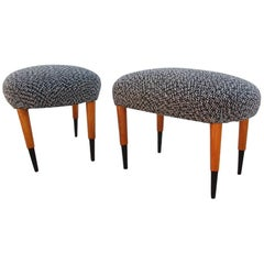 Pair of Midcentury Oval White and Black Wool Italian Stools, 1950s